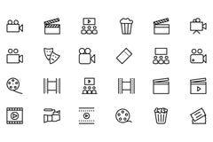Línea iconos 1 del vector del cine Fotografía de archivo libre de regalías