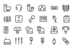 Línea iconos 4 del vector del hardware stock de ilustración