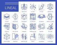 Línea iconos del vector en un estilo moderno Imagen de archivo libre de regalías