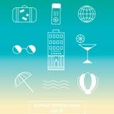 Línea iconos del viaje del verano Foto de archivo libre de regalías