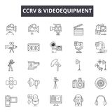 L?nea iconos del videoequipment del Cctv para la web y el dise?o m?vil Muestras Editable del movimiento Concepto del esquema del  ilustración del vector