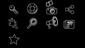 Línea iconos del web y de Internet almacen de metraje de vídeo