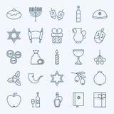 Línea iconos felices de Jánuca del día de fiesta fijados