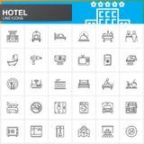 Línea iconos fijados, colección del símbolo del vector del esquema, paquete linear de los servicios y de las instalaciones de hot Imagen de archivo libre de regalías