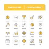 Línea iconos fijados Cryptocurrency libre illustration