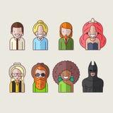 Línea iconos fijados Gente libre illustration