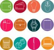 Línea iconos fijados iconos para el negocio, gestión Fotografía de archivo