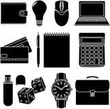 Línea iconos fijados iconos para el negocio, gestión Foto de archivo