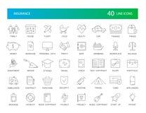 Línea iconos fijados Paquete del seguro stock de ilustración