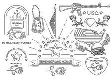 Línea iconos fijados para Memorial Day en los E.E.U.U. ilustración del vector