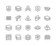 Línea iconos materiales acodados Imágenes de archivo libres de regalías