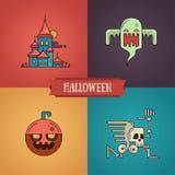 Línea iconos modernos de los caracteres de Halloween del diseño plano fijados Imágenes de archivo libres de regalías