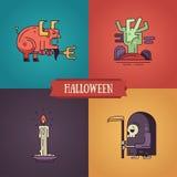 Línea iconos modernos de los caracteres de Halloween del diseño plano fijados Imagenes de archivo
