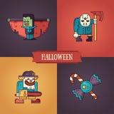 Línea iconos modernos de los caracteres de Halloween del diseño plano fijados Fotografía de archivo libre de regalías