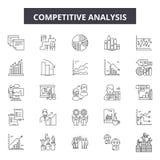 Línea iconos, muestras, sistema del vector, concepto del análisis competitivo del ejemplo del esquema stock de ilustración