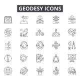 Línea iconos, muestras, sistema del vector, concepto de la geodesia del ejemplo del esquema ilustración del vector