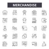 Línea iconos, muestras, sistema del vector, concepto de la mercancía del ejemplo del esquema stock de ilustración