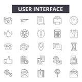 Línea iconos, muestras, sistema del vector, concepto linear, ejemplo de la interfaz de usuario del esquema libre illustration