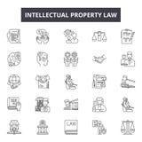 Línea iconos, muestras, sistema del vector, concepto linear, ejemplo de la ley de la propiedad intelectual del esquema libre illustration