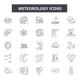 Línea iconos, muestras, sistema del vector, concepto linear, ejemplo de la meteorología del esquema libre illustration