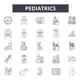 Línea iconos, muestras, sistema del vector, concepto linear, ejemplo de la pediatría del esquema ilustración del vector