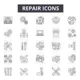 Línea iconos, muestras, sistema del vector, concepto linear, ejemplo de la reparación del esquema ilustración del vector