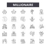 Línea iconos, muestras, sistema del vector, concepto del millonario del ejemplo del esquema ilustración del vector