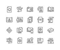 Línea iconos técnicos de la documentación ilustración del vector