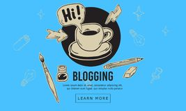 Línea incompleta dibujada mano artística Blogging diseño de la historieta de Art Style Drawings Illustrations Icons de relacionad Fotografía de archivo
