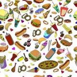 Línea inconsútil arte del vector del diseño de los alimentos de preparación rápida Fotos de archivo libres de regalías