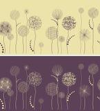 Línea inconsútil con las flores fantásticas Imagen de archivo