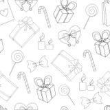Línea inconsútil modelo de los elementos del feliz cumpleaños Imagenes de archivo