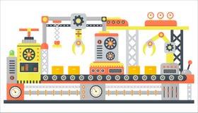 Línea industrial de la máquina abstracta en estilo plano Equipo de la tecnología de la maquinaria de construcción de fábrica, dir