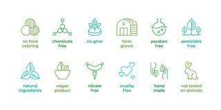Línea insignia de Eco Logotipos orgánicos naturales, parabén no probado libremente en los animales, etiquetas libres de la crueld stock de ilustración