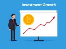 Línea inversiones de la tendencia al alza del presente del hombre de negocios de la flecha para el bitcoin y el blockchain Fotos de archivo libres de regalías