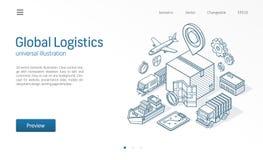 Línea isométrica moderna ejemplo del servicio logístico global Exportación, importación, negocio del almacén, bosquejo del transp libre illustration