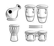 Línea latina arte de los iconos del instrumento del tambor de la percusión stock de ilustración