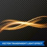 Línea ligera efecto del remolino del oro Rastro de la llamarada del fuego de la luz del brillo del vector Foto de archivo
