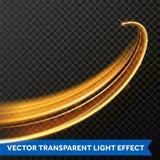 Línea ligera efecto del remolino del oro Rastro de la llamarada del fuego de la luz del brillo del vector Foto de archivo libre de regalías