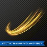 Línea ligera efecto del remolino del oro Rastro de la llamarada del fuego de la luz del brillo del vector Fotos de archivo libres de regalías