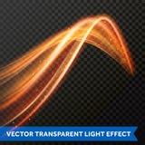 Línea ligera efecto del remolino del oro Rastro de la llamarada del fuego de la luz del brillo del vector Imagen de archivo libre de regalías