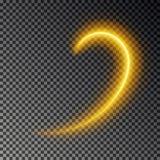 Línea ligera efecto, vector del oro Rastro ligero del fuego que brilla intensamente Efecto mágico del rastro del remolino del bri stock de ilustración