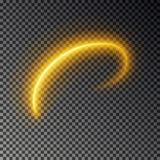 Línea ligera efecto, vector del oro Rastro ligero del fuego que brilla intensamente Efecto mágico del rastro del remolino del bri ilustración del vector