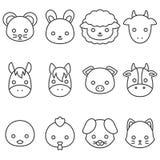 Línea linda sistema del animal del campo de la historieta del icono libre illustration