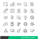 Línea linear de comercialización iconos Foto de archivo