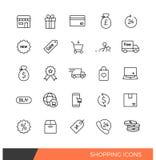Línea linear que hace compras iconos Fotografía de archivo libre de regalías