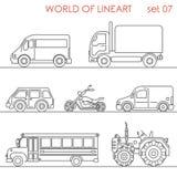 Línea lineart aéreo del autobús escolar del tractor del moto del camino del transporte del arte Imagen de archivo libre de regalías