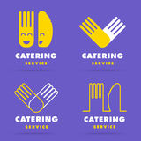 Línea lisa moderna de moda logotipo del abastecimiento Sistema de cooki del restaurante stock de ilustración