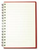 Línea llana en blanco cuaderno rojo de la cubierta del espiral aislado en blanco Imagen de archivo libre de regalías