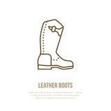 Línea logotipo de las botas de cuero Muestra plana para la tienda del equipo del polo Icono tradicional del calzado del vaquero Imagen de archivo